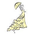 Young bride with umbrella vector image vector image