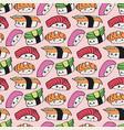 kawaii sushi seamless pattern vector image