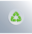 Minimalistic of a white button with a recycle icon vector image