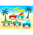 Animals driving to the beach beep beep vector image vector image