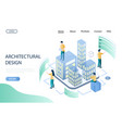 architectural design website landing page vector image