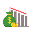 bagful with gold coins and down red arrow stocks vector image