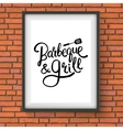 Barbecue and Grill Restaurant Sign on Brick Wall vector image