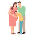 boy hugging his pregnant mother vector image