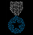 bright mesh wire frame army star award with light vector image vector image