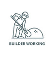 builder working with shovel line icon vector image vector image