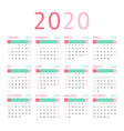 calendar 2020 pocket basic grid vector image