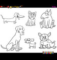 cartoon purebred dog characters color book vector image vector image