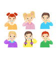 children brushing teeth flat characters set vector image