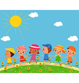 children walk on a beautiful summer day vector image vector image