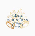 christmas bells abstract retro label sign vector image vector image