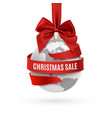christmas sale earth icon with red bow and ribbon vector image vector image