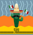 cinco de mayo poster with a cactus cartoon vector image