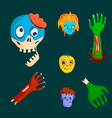 colorful zombie scary cartoon character and magic vector image vector image