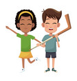 couple children hockey sport vector image