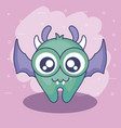 cute monster card with wings flying vector image