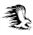 fiery eagle in flight vector image vector image