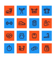 fitness and gym training line icons set vector image vector image