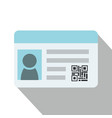 flat identification card and qr code vector image