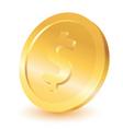 Gold dollar coin vector image