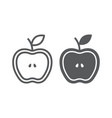 half apple line and glyph icon food and fruit vector image vector image