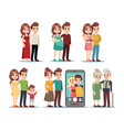 happy family stages cartoon kid parents young vector image