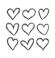 hearts in doodle style vector image vector image