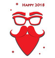 hipster red santa claus mask on white background vector image vector image