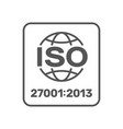 iso 27001 certified label iso iec 27001 sign vector image vector image