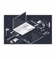 isometric concept of workplace with computer and vector image
