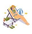 isometric girl in bikini near sea in a deck vector image vector image