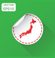 japan sticker map icon business concept japan vector image vector image
