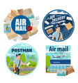 mail delivery postman and post parcels vector image vector image