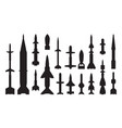 Military guided weapon black glyph icons set