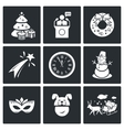 New year icons set vector image