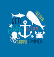 ocean animals print design with slogan vector image vector image