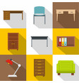 office furniture icons set flat style vector image vector image
