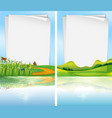 paper template with park scene in background vector image vector image
