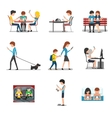 People in different action use smartphone vector image vector image