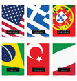poster with flag in color set vector image vector image