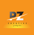 pz p z letter modern logo design with yellow vector image vector image