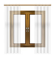 realistic detailed 3d wooden window frame vector image vector image
