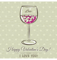 romantic card with glass of wine vector image vector image