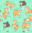 seamless pattern with shiba inu on a green vector image