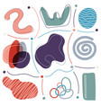 set abstract trendy modern hand drawn organic vector image