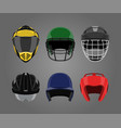 set of sports helmets on a gray background vector image