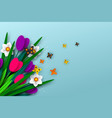 spring floral composition with paper cut flowers vector image vector image