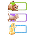 Square labels with cute cats vector image