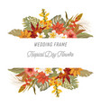tropical floral border with palm leaves tropic vector image vector image
