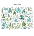 tropical leaves hand drawn flat set vector image